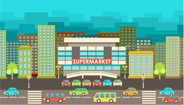 Supermarket. City in the Style of Flat Design.  - Buildings Objects