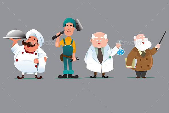 Chef Builder Chemist Teacher - People Characters