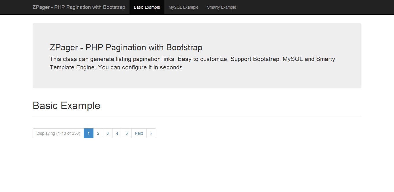 ZPager - PHP Pagination with Bootstrap