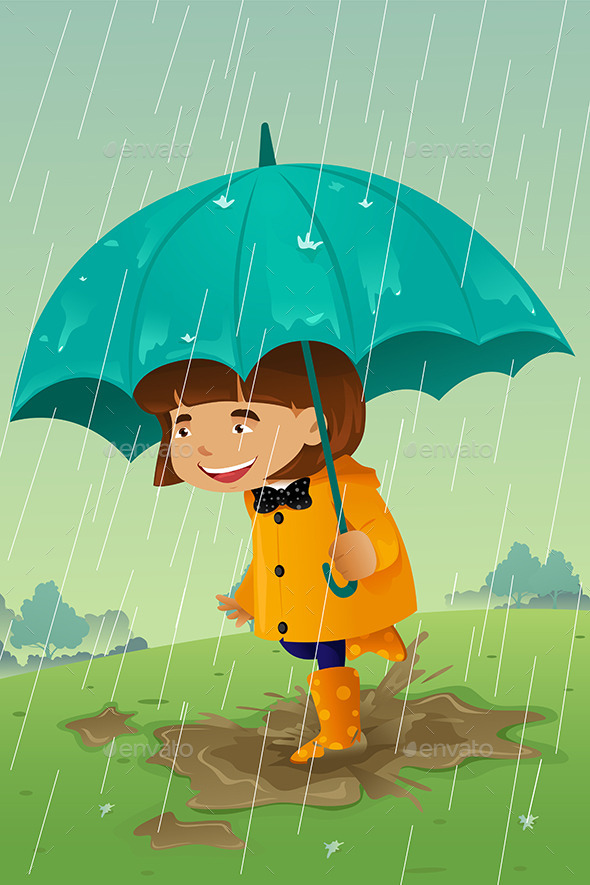 Girl with Umbrella and Raincoat Playing in the Mud - People Characters