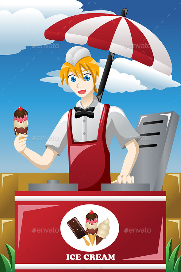 Man Selling Ice Cream - People Characters
