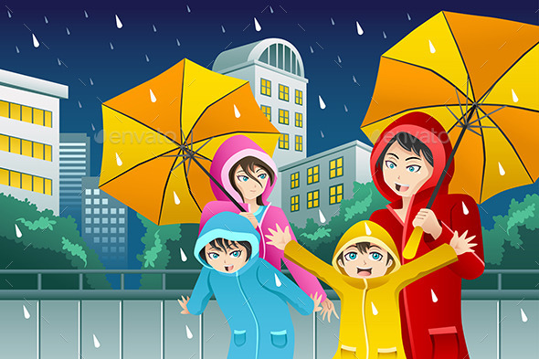 Family walking with Umbrella and Wearing Raincoats - People Characters