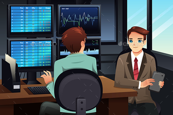 Stock Trader Looking at the Stock Market Monitors - Business Conceptual