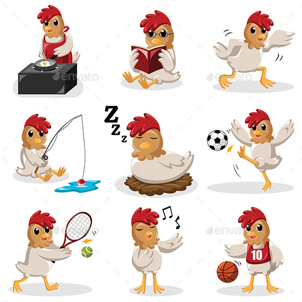 Chicken Characters Doing Different Activities - Animals Characters