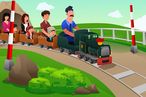 Kids and Their Parents Riding a Small Train - People Characters