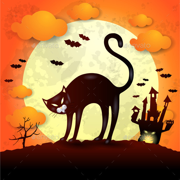 Halloween Bakground with Black Cat - Halloween Seasons/Holidays