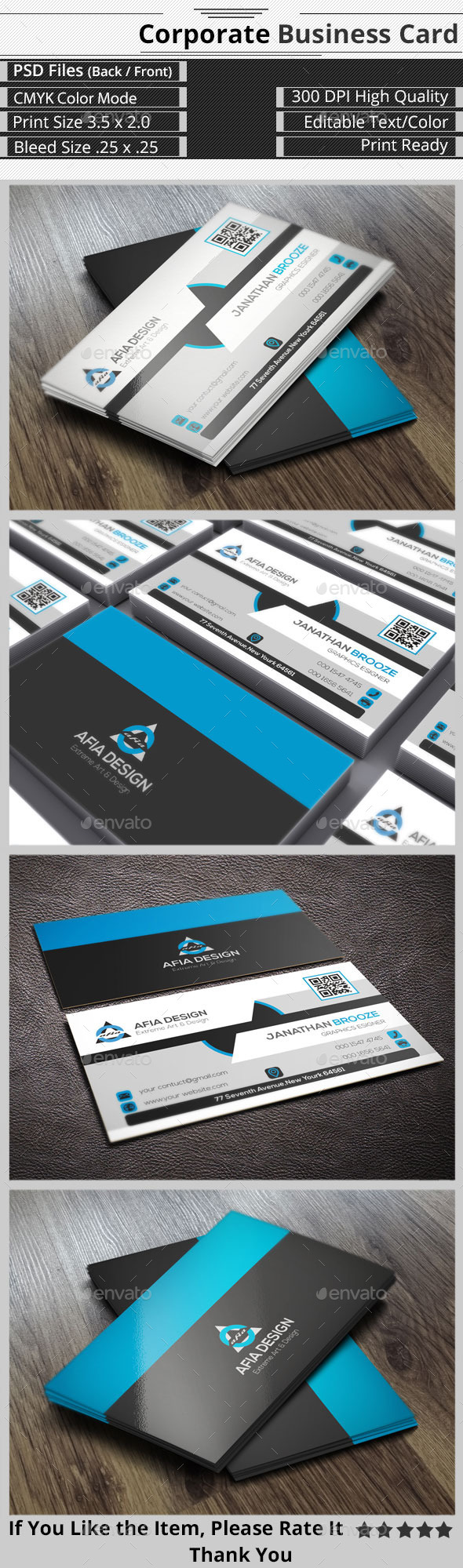 Clean & Creative Corporate Business Card - Corporate Business Cards