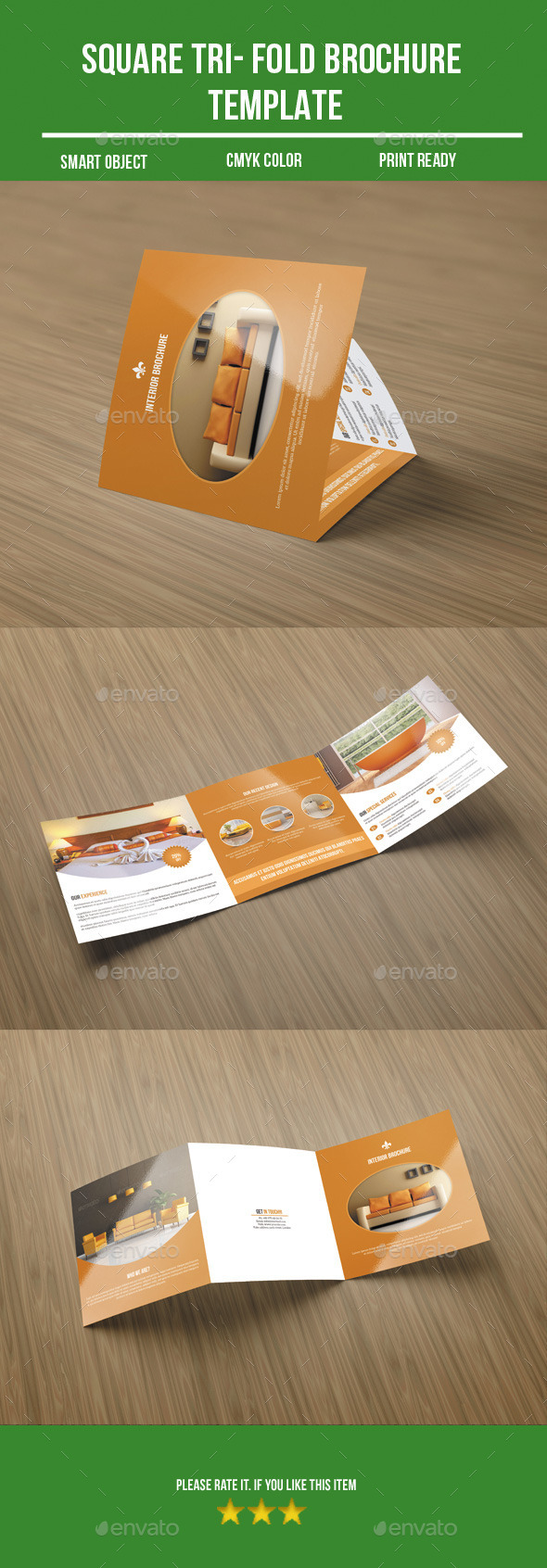 Square Tri-Fold Interior Brochure - Corporate Brochures