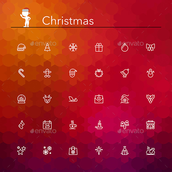 Christmas Line Icons - Seasonal Icons