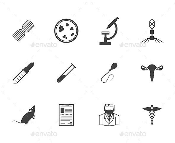 Black Icons for Genetics - Health/Medicine Conceptual