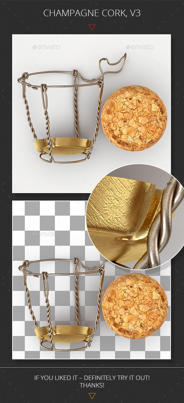 Champagne Cork, v3 - Objects 3D Renders