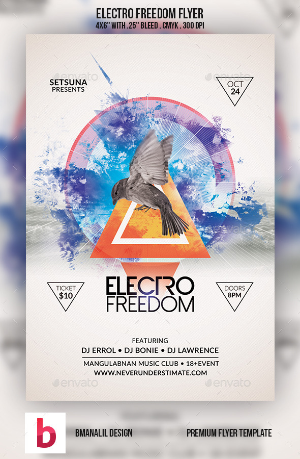 Electro Freedom Flyer - Clubs & Parties Events