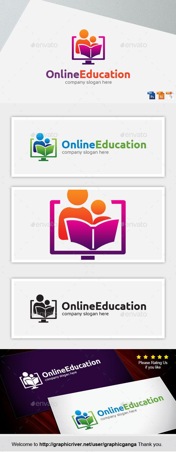 Online Education - Humans Logo Templates