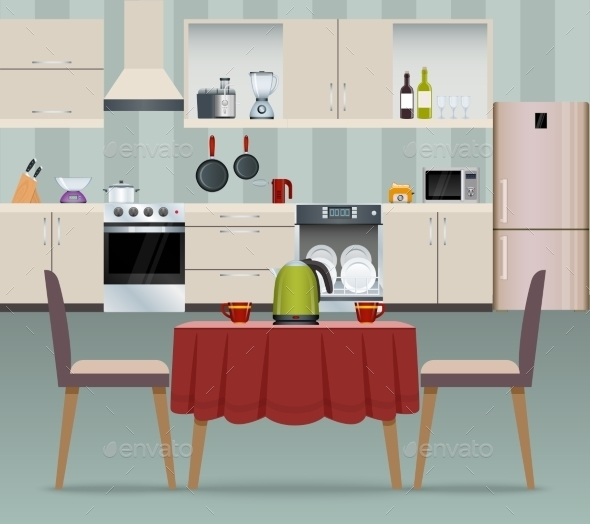 Kitchen Interior Poster - Food Objects