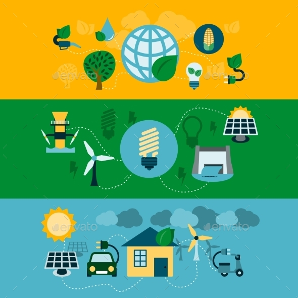 Eco Energy Horizontal Banners Set - Concepts Business
