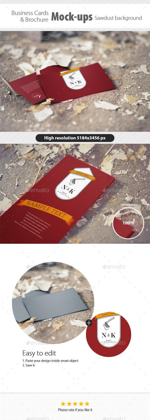 Business Card/Brochure Mock-Ups Sawdust Background - Business Cards Print