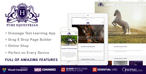 Pure Equestrian - Responsive Equestrian WordPress Theme, Horse And Stable Yard Management