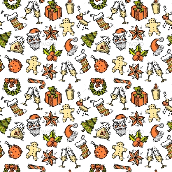 Christmas Seamless Pattern Color - Christmas Seasons/Holidays