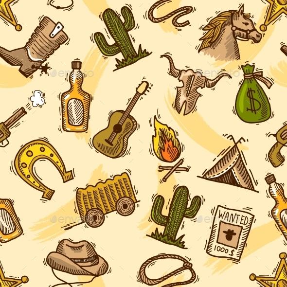 Cowboy Seamless Pattern Color - Miscellaneous Vectors