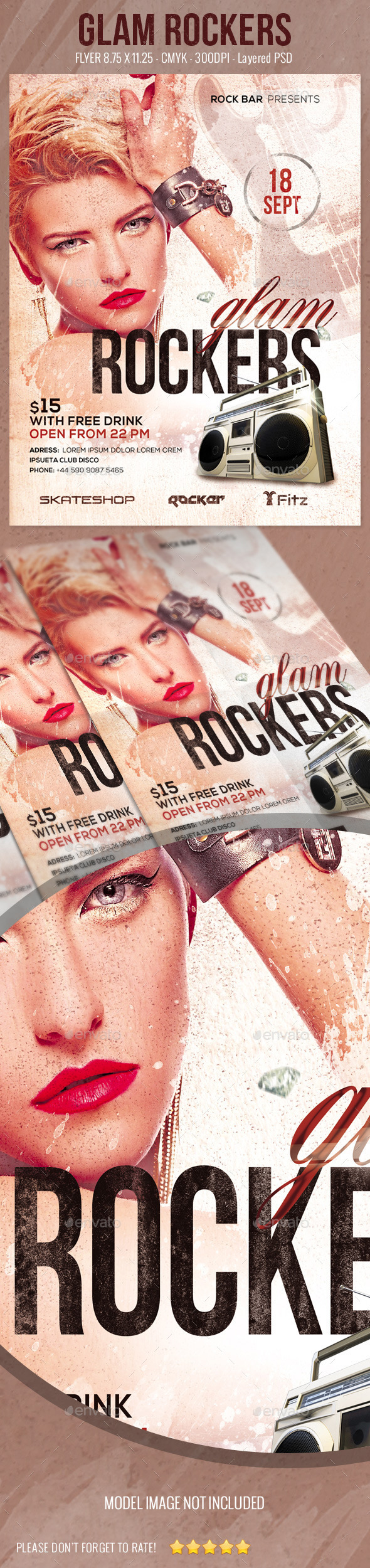 Glam Rockers Flyer - Clubs & Parties Events