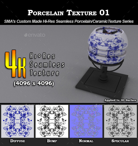 Hi-Res Porcelain Texture - 01 - 3DOcean Item for Sale
