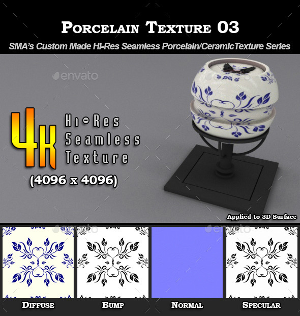 Hi-Res Porcelain Texture - 03 - 3DOcean Item for Sale
