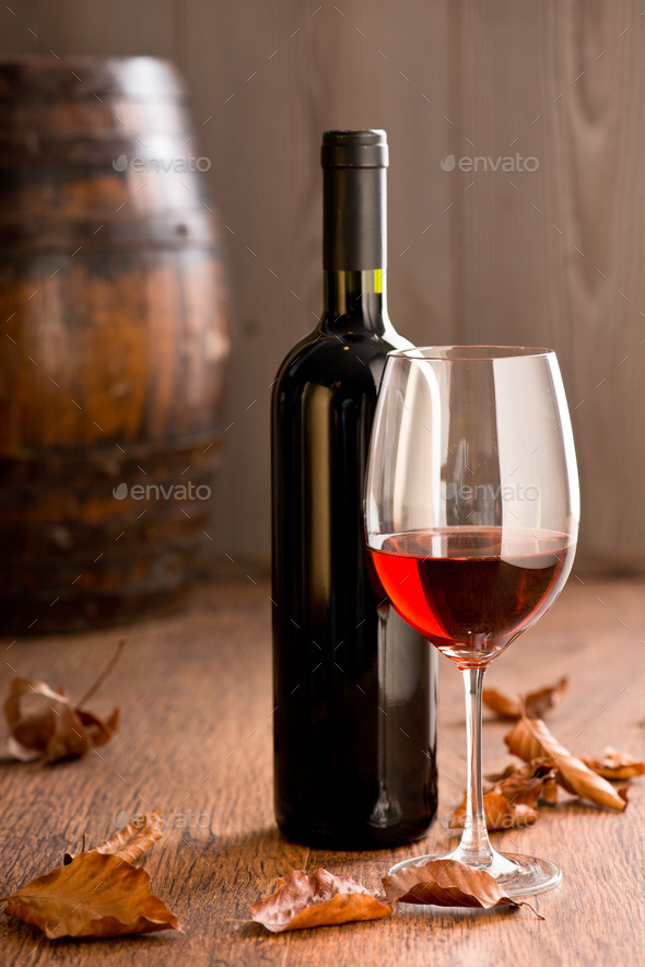 Wineglass with bottle - Stock Photo - Images