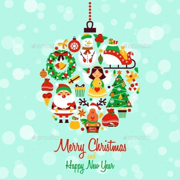 Christmas Icons Ball Shape - Christmas Seasons/Holidays