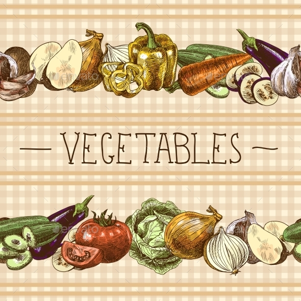 Vegetables Seamless Pattern Border - Borders Decorative