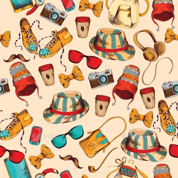 Hipster Seamless Pattern - Backgrounds Decorative
