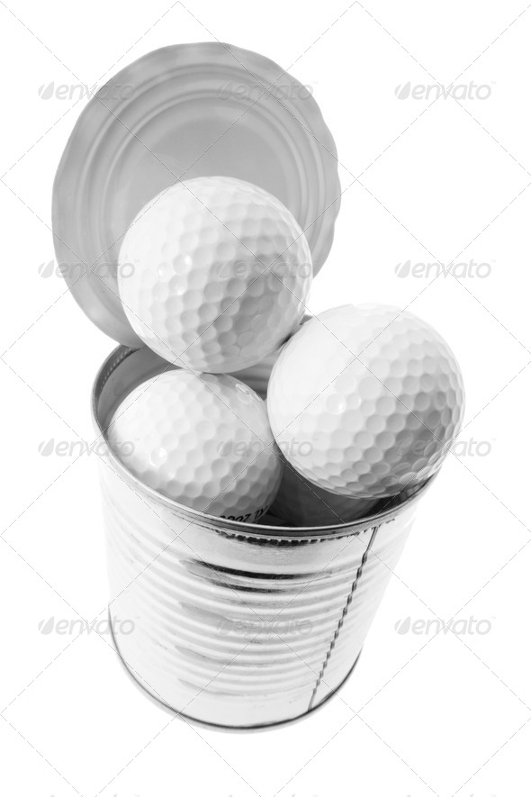 Golf Balls in Tin Can - Stock Photo - Images