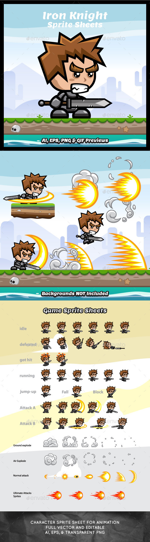 Iron Knight Game Character Sprite Sheets - Sprites Game Assets