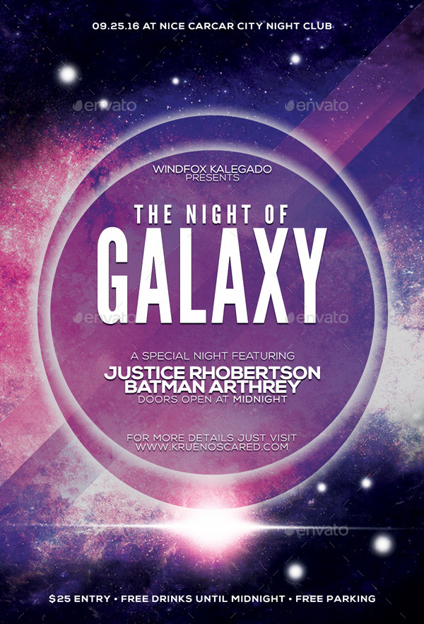 The Night of Galaxy Flyer by NDKrue | GraphicRiver
