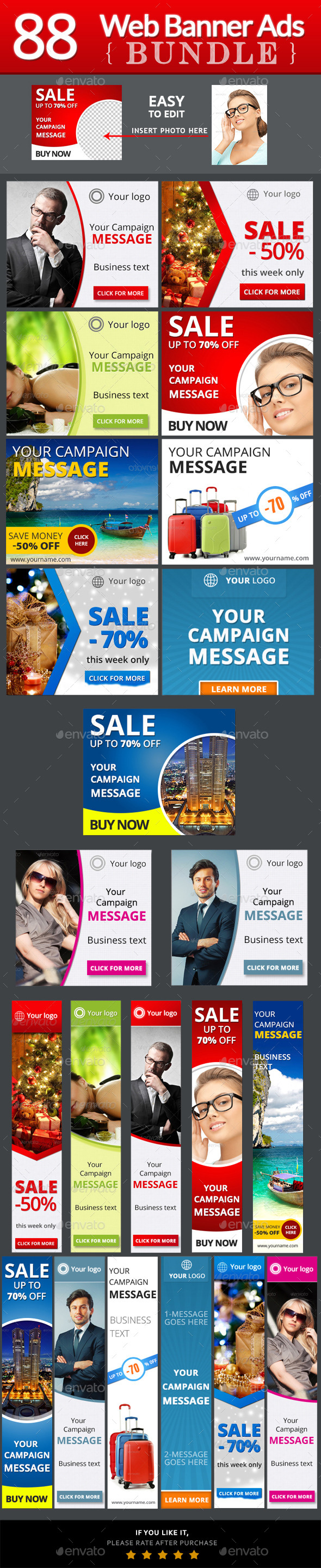 Web Banner Ads Bundle - Banners & Ads Web Elements