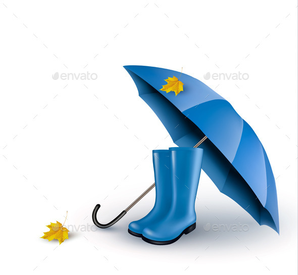 Background with Umbrella and Rain Boots - Seasons Nature
