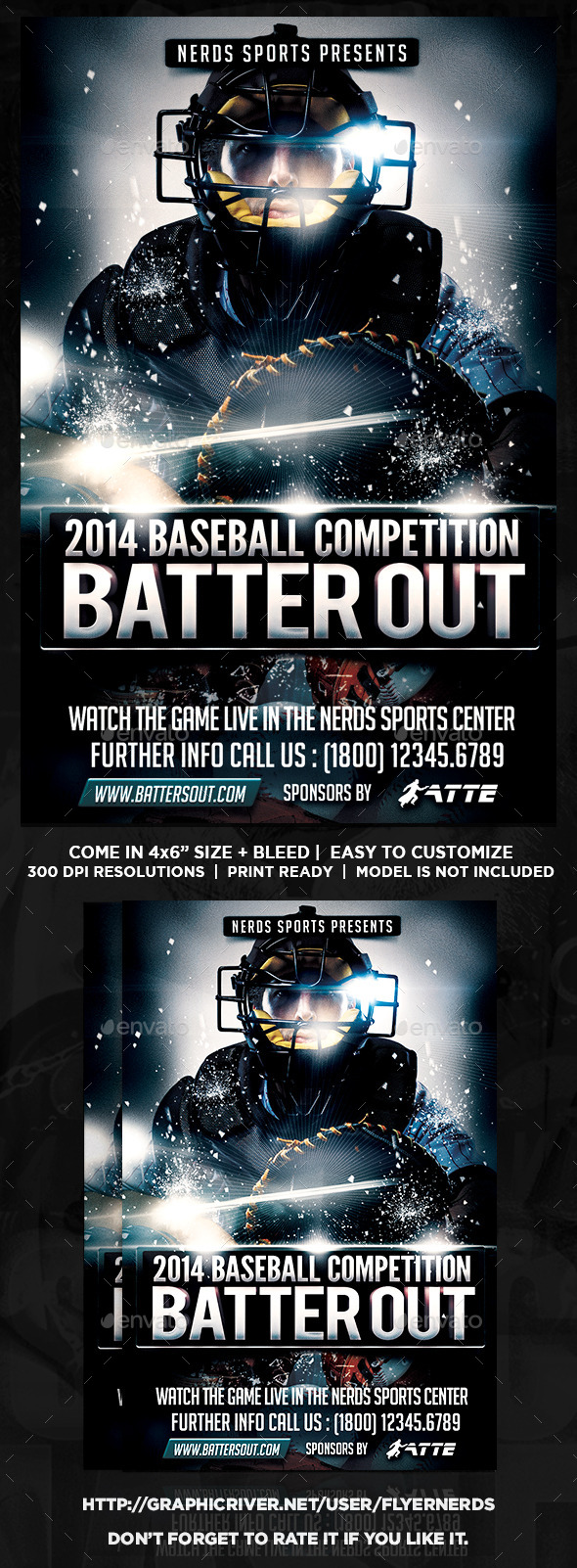Batter Out Baseball Competition Flyer - Sports Events
