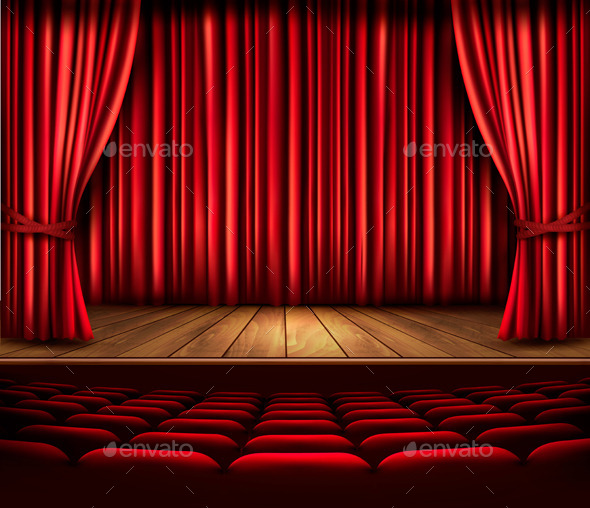 Cinema or Theater Scene with a Curtain - Decorative Vectors