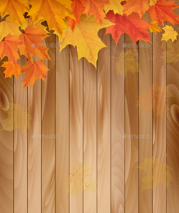 Wooden Background with Autumn Leaves - Nature Conceptual