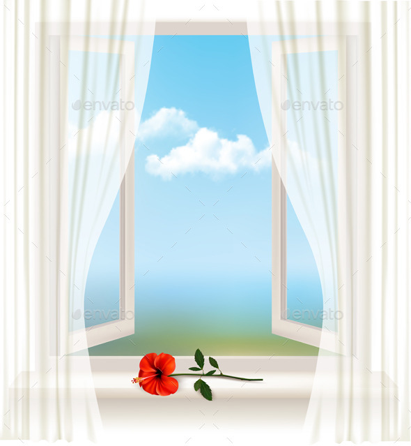 Background with an Open Window and a Red Flower - Objects Vectors