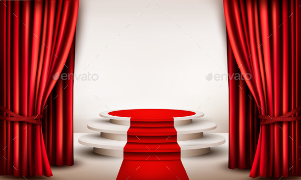 Background with Curtains and Red Carpet  - Backgrounds Decorative