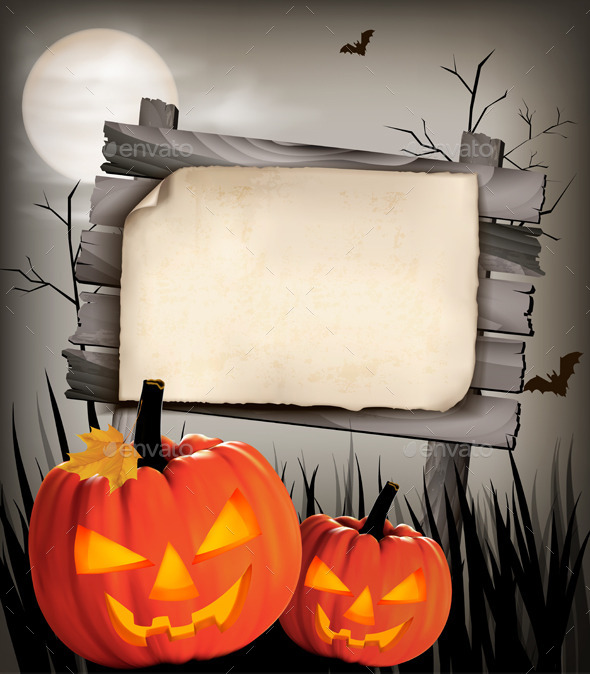 Halloween Background with Two Pumpkins - Halloween Seasons/Holidays