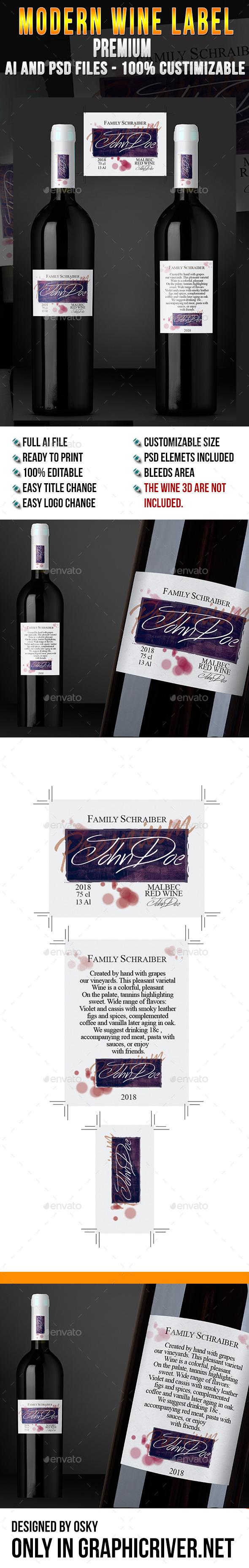 Modern Wine Label Premium - Miscellaneous Print Templates