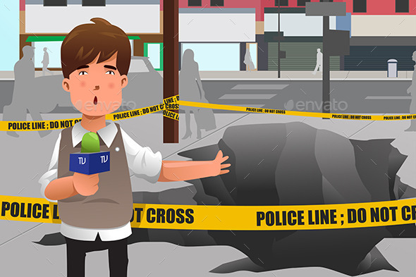 News Reporter working in the City - People Characters