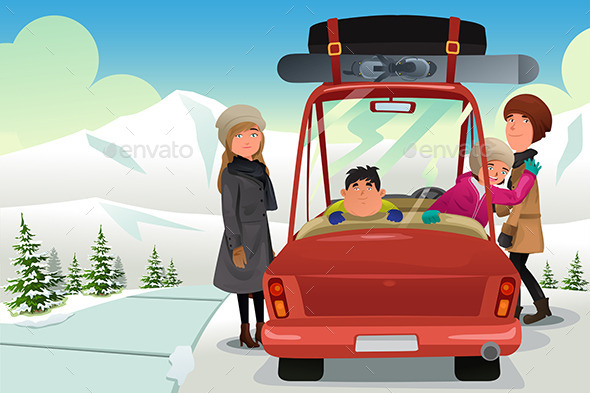 Family going to a Winter Holiday Trip - Seasons/Holidays Conceptual