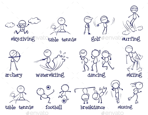 Sports Doodle Set - People Characters