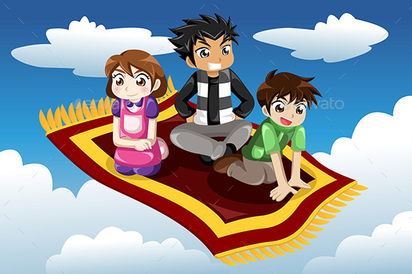 Kids riding on a Flying Carpet - People Characters