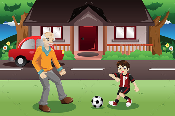 Grandpa and Grandson playing Soccer - Sports/Activity Conceptual