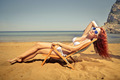 Beauty sunbathing at the beach