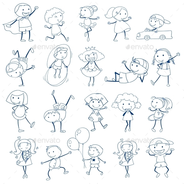 Doodles of Kids Playing - People Characters
