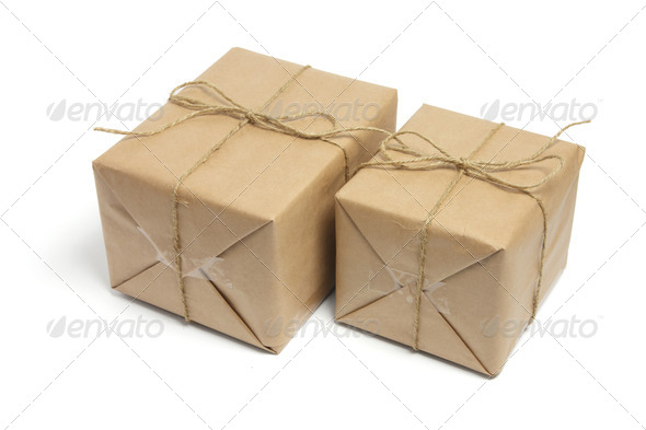 Brown Packages Tied with String - Stock Photo - Images
